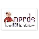 Nerds Big Harddrives Rectangle Sticker