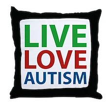 Live Love Autism Throw Pillow