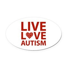 Live Love Autism Oval Car Magnet