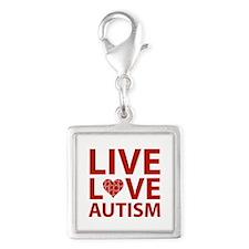 Live Love Autism Silver Square Charm