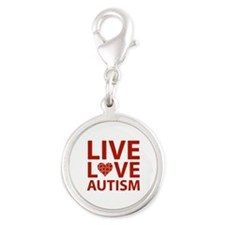 Live Love Autism Silver Round Charm