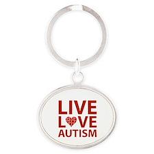 Live Love Autism Oval Keychain