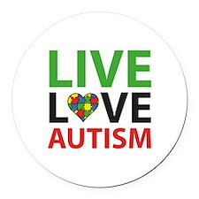 Live Love Autism Round Car Magnet