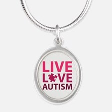 Live Love Autism Silver Oval Necklace