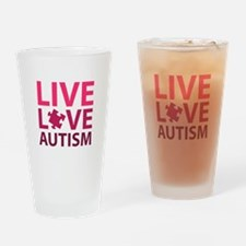 Live Love Autism Drinking Glass