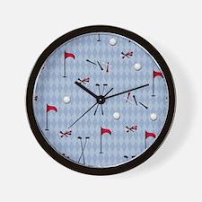 Golf Equipment on Blue Argyle Wall Clock