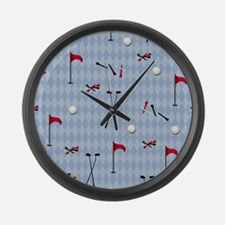 Golf Equipment on Blue Argyle Large Wall Clock