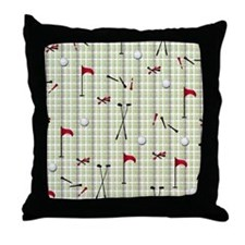 Hole in One Golf Equipment on Plaid Throw Pillow