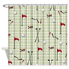 Hole in One Golf Equipment on Plaid Shower Curtain