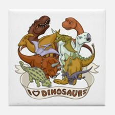 I Heart Dinosaurs Tile Coaster