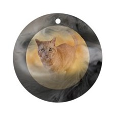 Cat in Moon Ornament (Round)
