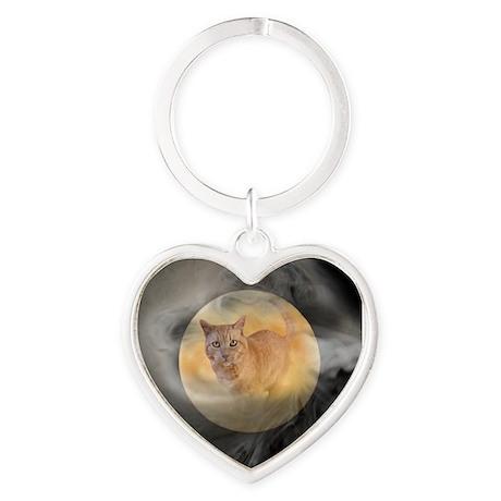 Cat in Moon Heart Keychain