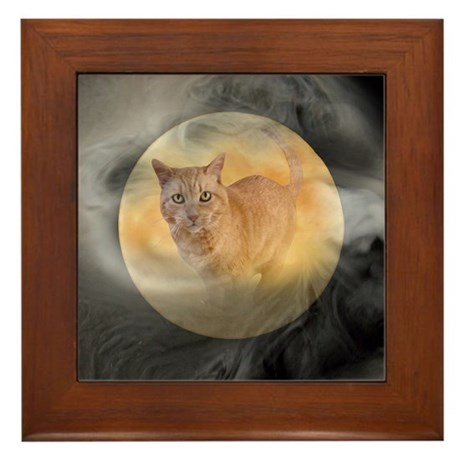 Cat in Moon Framed Tile