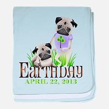 Earth Days PUGS 13 baby blanket