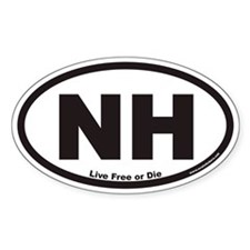 New Hampshire NE Live Free or Die Euro Oval Sticke