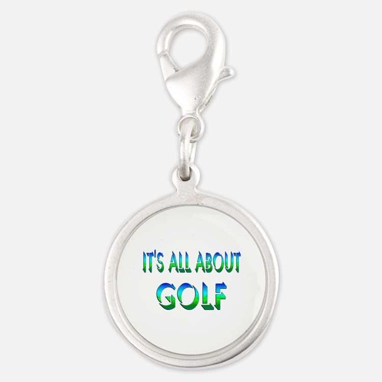 About Golf Silver Round Charm
