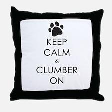 Keep Calm & Clumber On - paw Throw Pillow