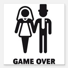 Game Over (Wedding / Marriage) Square Car Magnet 3