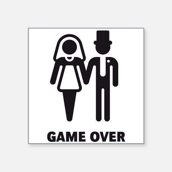 """Game Over (Wedding / Marriage) Square Sticker 3"""" x"""