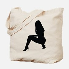 Sexy woman squatting in heels Tote Bag