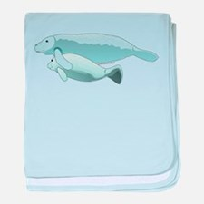 Mom and Baby Manatees baby blanket