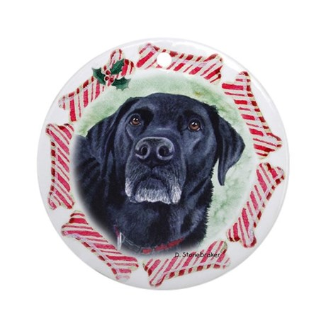 Black Labrador Christmas Ornament (Round)