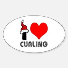 I Love Curling Sticker (Oval)