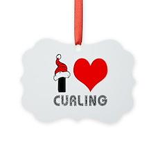 I Love Curling Ornament