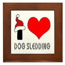 I Love Dog Sledding Framed Tile