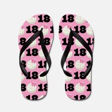 Volleyball Player Number 18 Flip Flops
