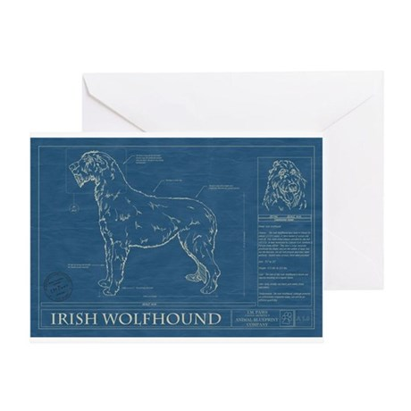 BluePrint of an Irish Wolfhound Greeting Card