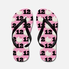 Volleyball Player Number 12 Flip Flops