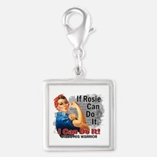 If Rosie Can Do It Diabetes Silver Square Charm