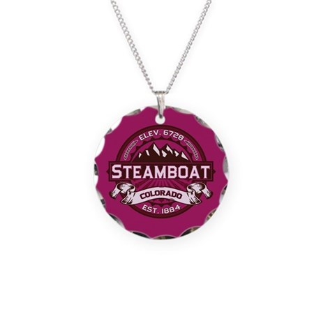 Steamboat Raspberry Necklace Circle Charm