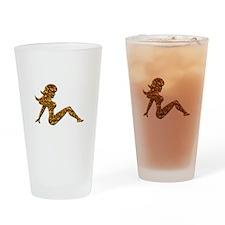 Animal Print Trucker GIrl Drinking Glass