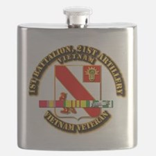 Army - 1-21 ARTY w Vietnam SVC Ribbons Flask