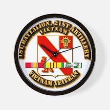 Army - 1-21 ARTY w Vietnam SVC Ribbons Wall Clock