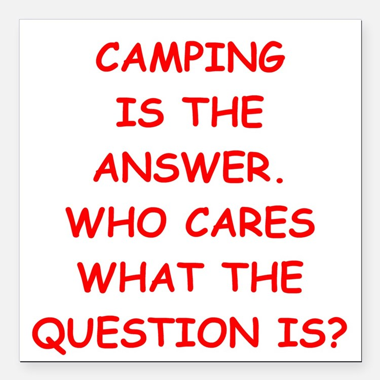 "camping Square Car Magnet 3"" x 3"""