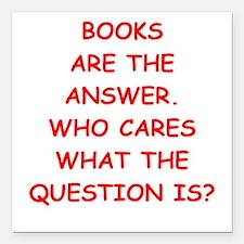 "books Square Car Magnet 3"" x 3"""