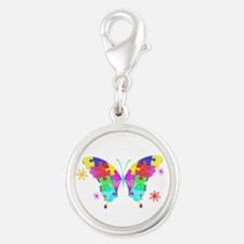 Autism Butterfly Silver Round Charm
