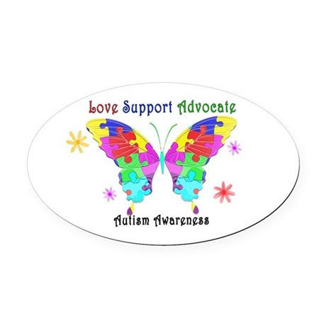 Autism Butterfly Oval Car Magnet