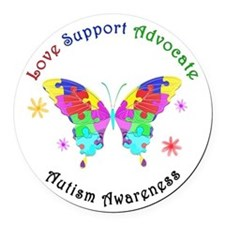 Autism Butterfly Round Car Magnet