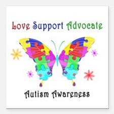 "Autism Butterfly Square Car Magnet 3"" x 3"""
