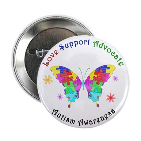 """Autism Butterfly 2.25"""" Button (100 pack)"""