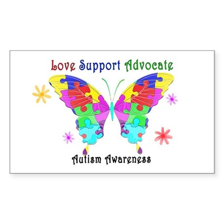 Autism Butterfly Sticker (Rectangle 10 pk)