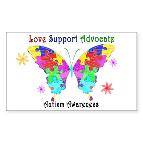 Autism Butterfly Sticker (Rectangle)