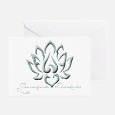 Buddha Lotus Flower Peace quote Greeting Card