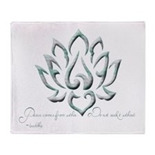 Buddha Lotus Flower Peace quote Throw Blanket