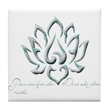 Buddha Lotus Flower Peace quote Tile Coaster