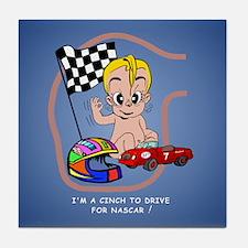 EGGBERT Blonde Car Driver Tile Coaster